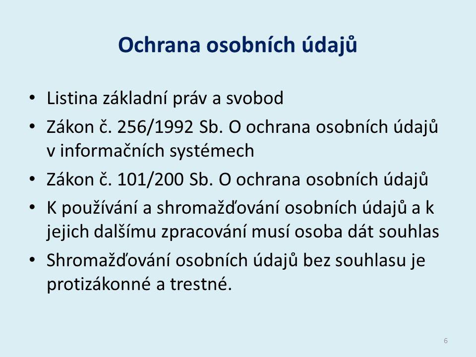 Ochrana osobních údajů Listina základní práv a svobod Zákon č.