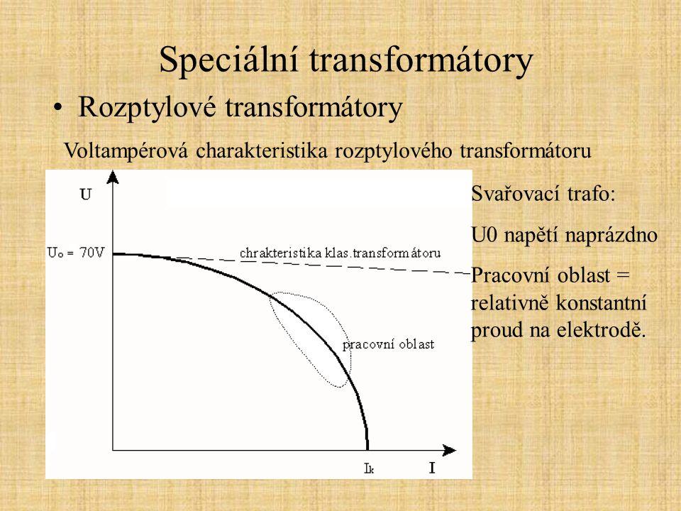 Speciální transformátory Rozptylové transformátory Voltampérová charakteristika rozptylového transformátoru Svařovací trafo: U0 napětí naprázdno Praco