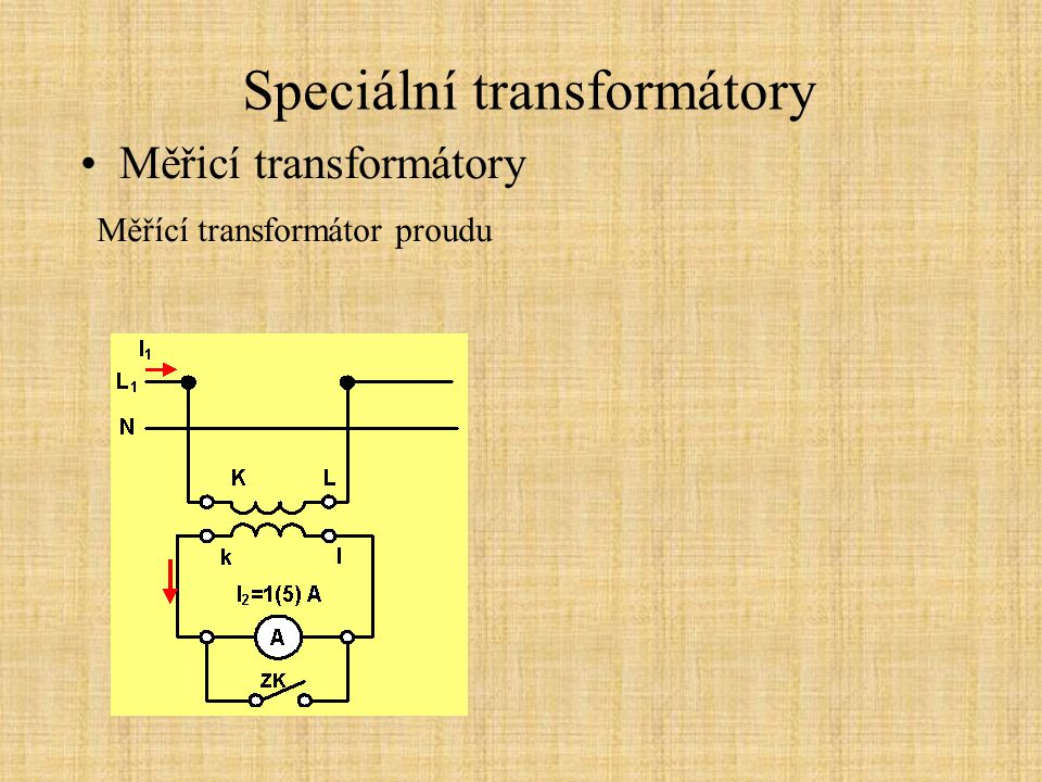 Speciální transformátory Měřicí transformátory Měřící transformátor proudu