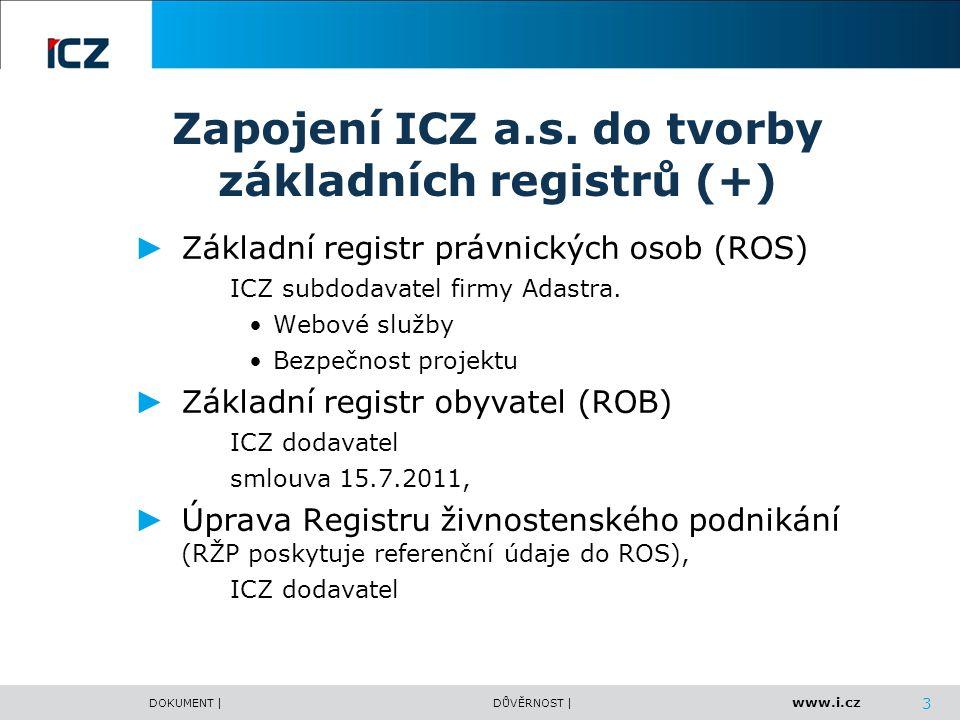www.i.cz DOKUMENT |DŮVĚRNOST | Zapojení ICZ a.s. do tvorby základních registrů (+) ► Základní registr právnických osob (ROS) ICZ subdodavatel firmy Ad