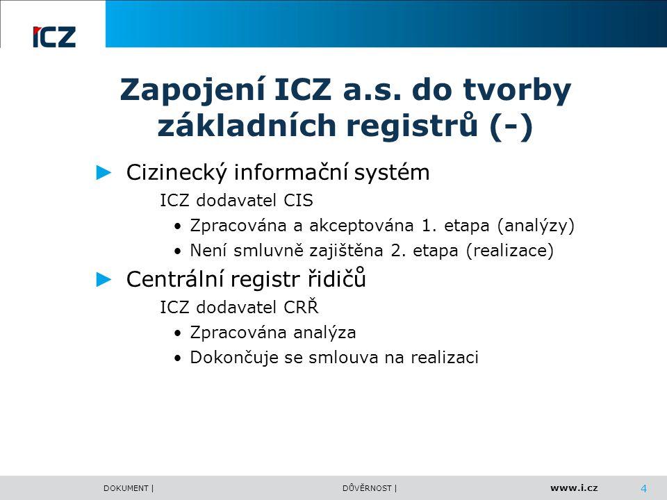 www.i.cz DOKUMENT |DŮVĚRNOST | Zapojení ICZ a.s. do tvorby základních registrů (-) ► Cizinecký informační systém ICZ dodavatel CIS Zpracována a akcept