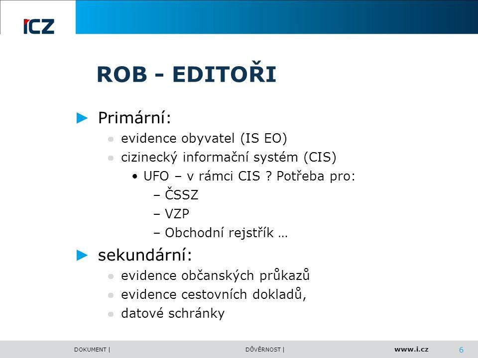 www.i.cz DOKUMENT |DŮVĚRNOST | ROB - Uživatelé Zákon o základních registrech - č.