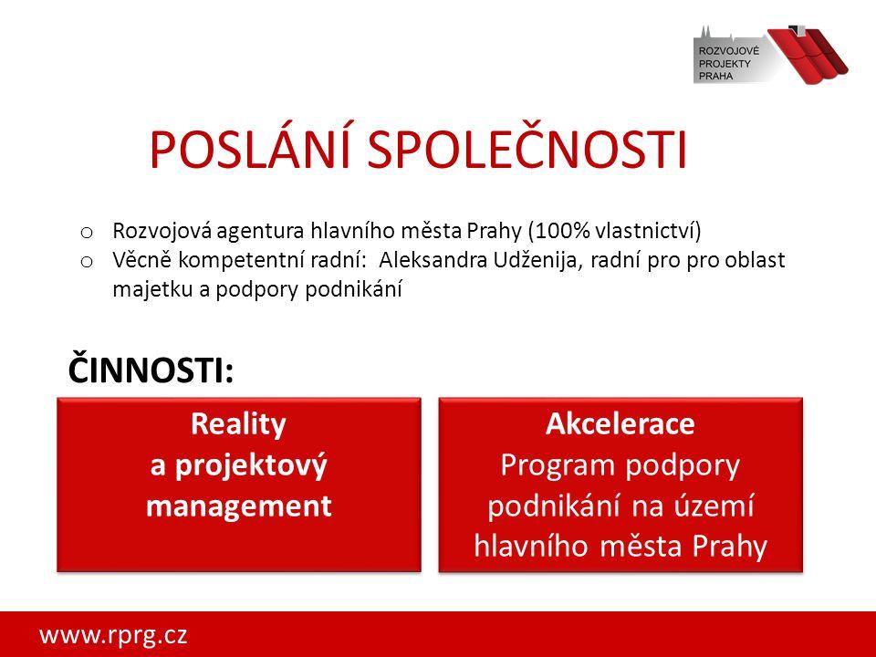 www.rprg.cz Reality a projektový management Akcelerace Program podpory podnikání na území hlavního města Prahy Akcelerace Program podpory podnikání na