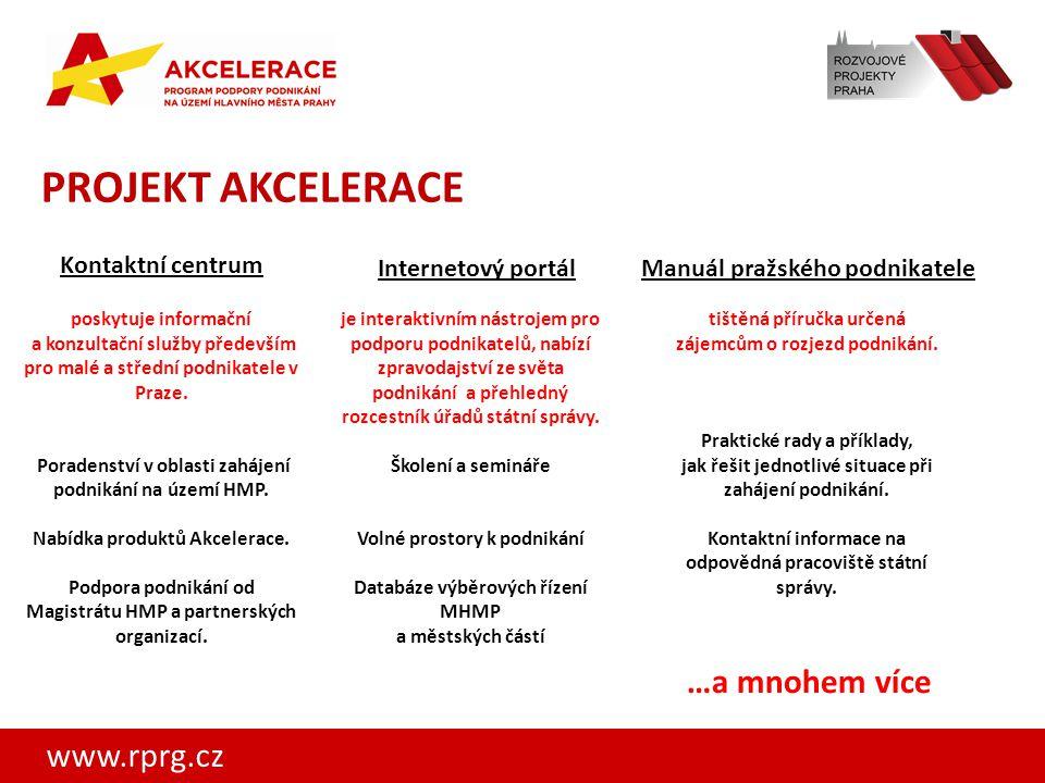 www.rprg.cz PROJEKT AKCELERACE Manuál pražského podnikateleInternetový portál Kontaktní centrum poskytuje informační a konzultační služby především pr