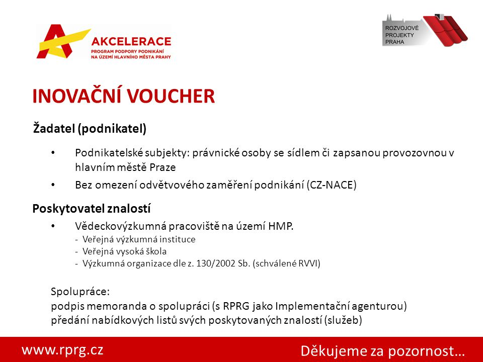 www.rprg.cz INOVAČNÍ VOUCHER Žadatel (podnikatel) Podnikatelské subjekty: právnické osoby se sídlem či zapsanou provozovnou v hlavním městě Praze Bez