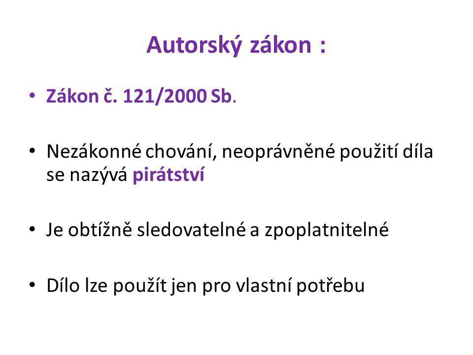 Autorský zákon : Zákon č.121/2000 Sb.