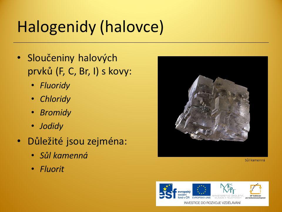 Halogenidy (halovce) Sloučeniny halových prvků (F, C, Br, I) s kovy: Fluoridy Chloridy Bromidy Jodidy Důležité jsou zejména: Sůl kamenná Fluorit Sůl k
