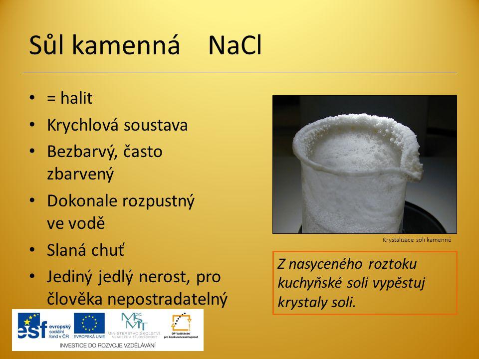 Sůl kamenná NaCl = halit Krychlová soustava Bezbarvý, často zbarvený Dokonale rozpustný ve vodě Slaná chuť Jediný jedlý nerost, pro člověka nepostrada