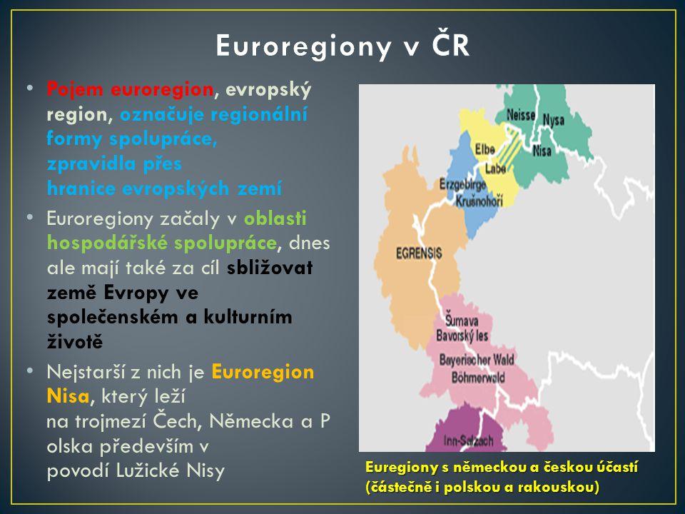 Pojem euroregion, evropský region, označuje regionální formy spolupráce, zpravidla přes hranice evropských zemí Euroregiony začaly v oblasti hospodářské spolupráce, dnes ale mají také za cíl sbližovat země Evropy ve společenském a kulturním životě Nejstarší z nich je Euroregion Nisa, který leží na trojmezí Čech, Německa a P olska především v povodí Lužické Nisy Euregiony s německou a českou účastí (částečně i polskou a rakouskou) Euregiony s německou a českou účastí (částečně i polskou a rakouskou)