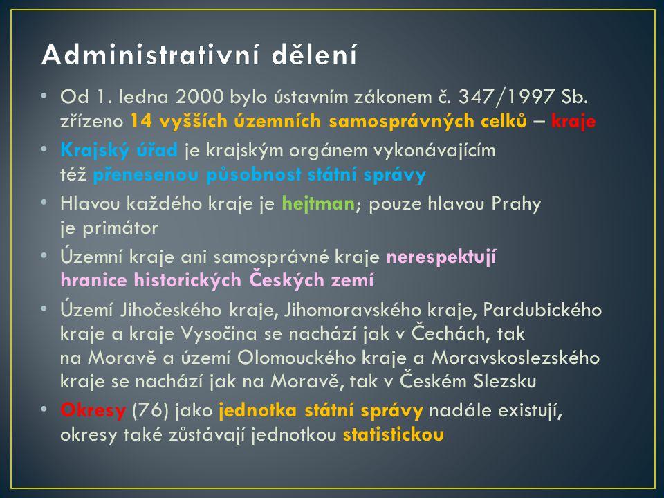 Od 1. ledna 2000 bylo ústavním zákonem č. 347/1997 Sb. zřízeno 14 vyšších územních samosprávných celků – kraje Krajský úřad je krajským orgánem vykoná