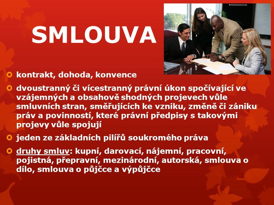 SMLOUVA  kontrakt, dohoda, konvence  dvoustranný či vícestranný právní úkon spočívající ve vzájemných a obsahově shodných projevech vůle smluvních s