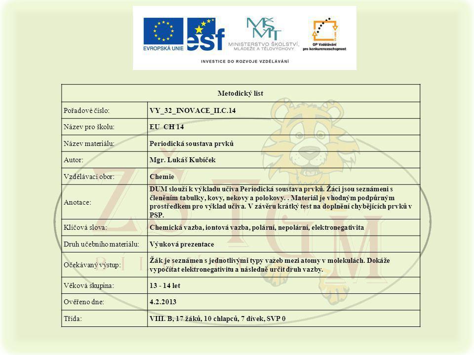 Metodický list Pořadové číslo:VY_32_INOVACE_II.C.14 Název pro školu:EU CH 14 Název materiálu:Periodická soustava prvků Autor:Mgr. Lukáš Kubíček Vzdělá