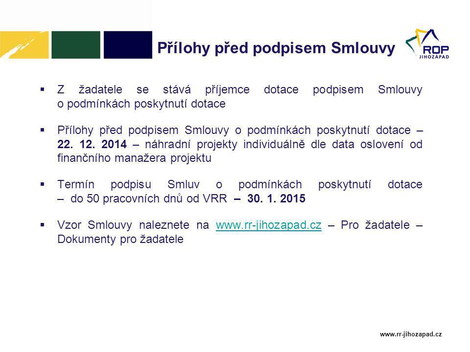 www.rr-jihozapad.cz Přílohy před podpisem Smlouvy  Z žadatele se stává příjemce dotace podpisem Smlouvy o podmínkách poskytnutí dotace  Přílohy před podpisem Smlouvy o podmínkách poskytnutí dotace – 22.