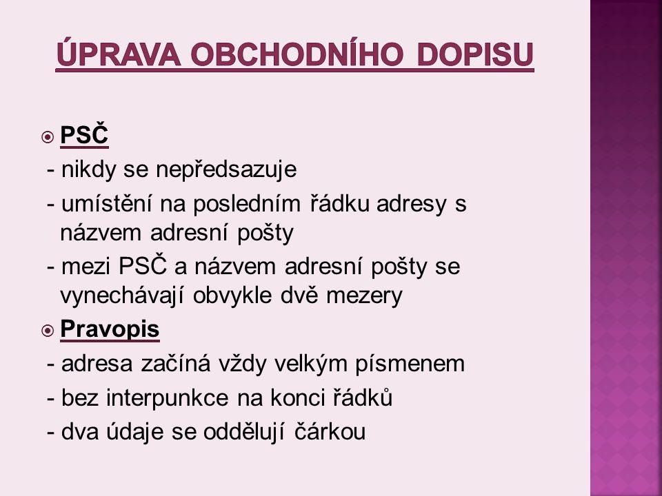  Písemná elektronická komunikace SPŠS a OA Kladno  Obchodní zákoník - http://www.podnikatel.cz/zakony/zakon-c-513-1991-sb- obchodni-zakonik/  Obchodní korespondence pro střední školy ( PhDr.
