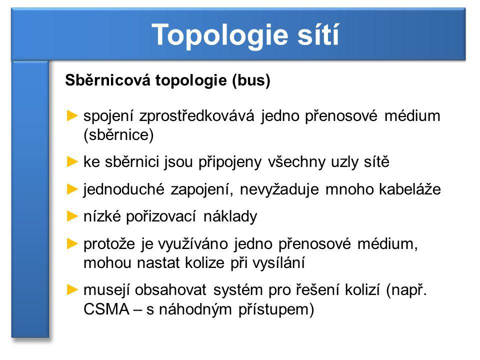 Sběrnicová topologie (bus) ►přerušení sdíleného média vede k výpadku celé sítě ►vhodná pro menší sítě ►výkon klesá s větším počtem stanic (více kolizí) Topologie sítí [1]