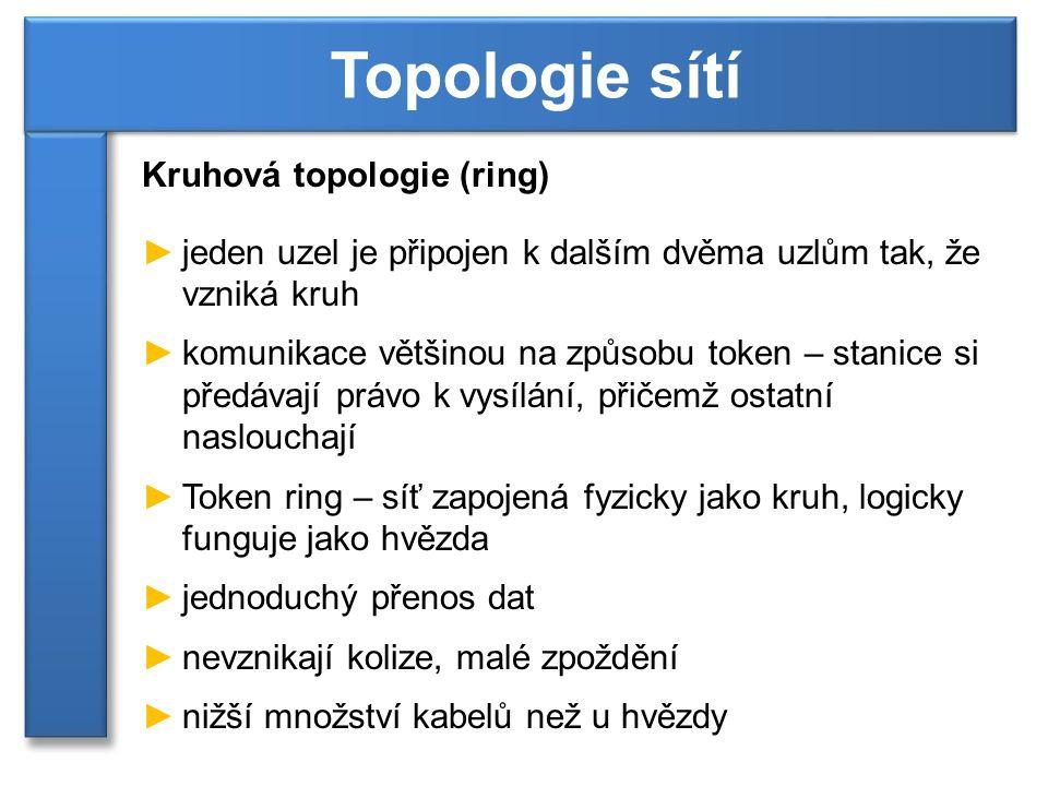Kruhová topologie (ring) ►při komunikaci musí data projít všemi uzly ►přerušení kruhu vede většinou k výpadku sítě ►při přidávání uzlu je nutné přerušit kruh Topologie sítí [3]