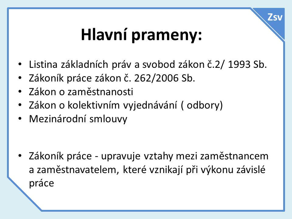 Hlavní prameny: Zsv Listina základních práv a svobod zákon č.2/ 1993 Sb.