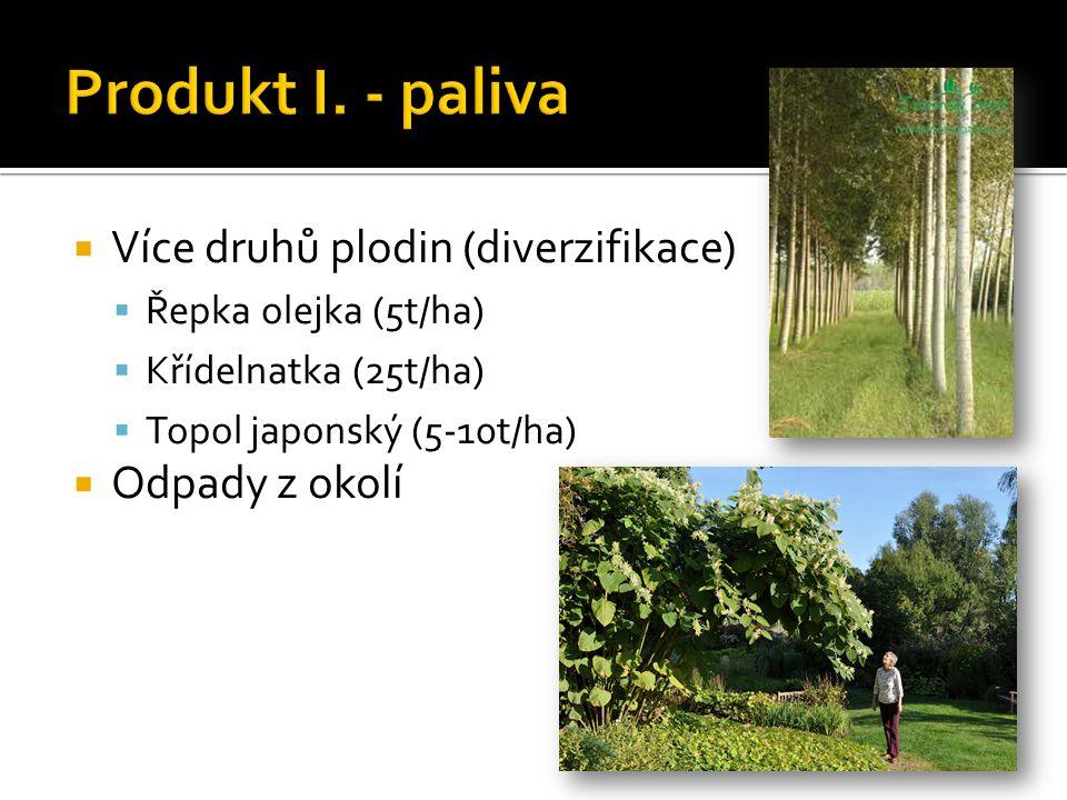  Více druhů plodin (diverzifikace)  Řepka olejka (5t/ha)  Křídelnatka (25t/ha)  Topol japonský (5-10t/ha)  Odpady z okolí