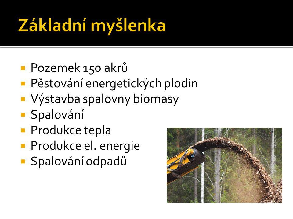  Pozemek 150 akrů  Pěstování energetických plodin  Výstavba spalovny biomasy  Spalování  Produkce tepla  Produkce el.