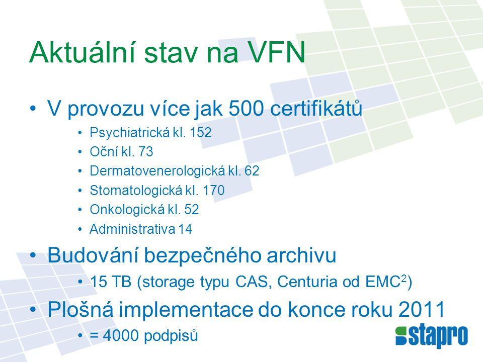 Aktuální stav na VFN V provozu více jak 500 certifikátů Psychiatrická kl. 152 Oční kl. 73 Dermatovenerologická kl. 62 Stomatologická kl. 170 Onkologic