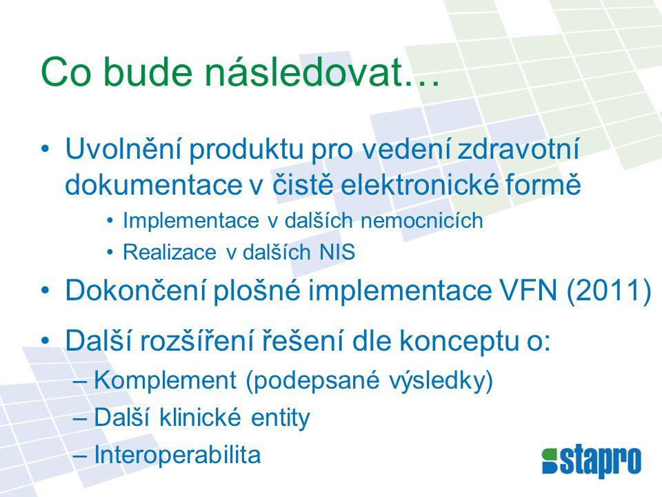 Co bude následovat… Uvolnění produktu pro vedení zdravotní dokumentace v čistě elektronické formě Implementace v dalších nemocnicích Realizace v další