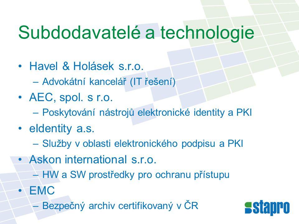 Subdodavatelé a technologie Havel & Holásek s.r.o. –Advokátní kancelář (IT řešení) AEC, spol. s r.o. –Poskytování nástrojů elektronické identity a PKI