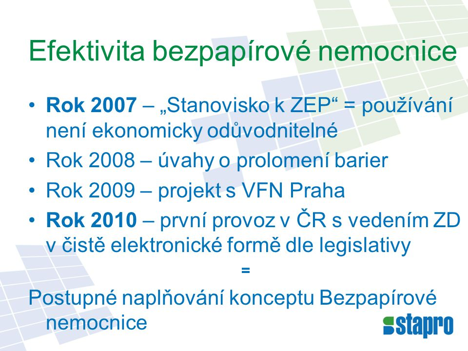 """Efektivita bezpapírové nemocnice Rok 2007 – """"Stanovisko k ZEP"""" = používání není ekonomicky odůvodnitelné Rok 2008 – úvahy o prolomení barier Rok 2009"""
