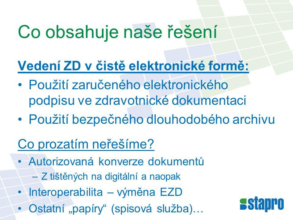 Co obsahuje naše řešení Vedení ZD v čistě elektronické formě: Použití zaručeného elektronického podpisu ve zdravotnické dokumentaci Použití bezpečného dlouhodobého archivu Co prozatím neřešíme.