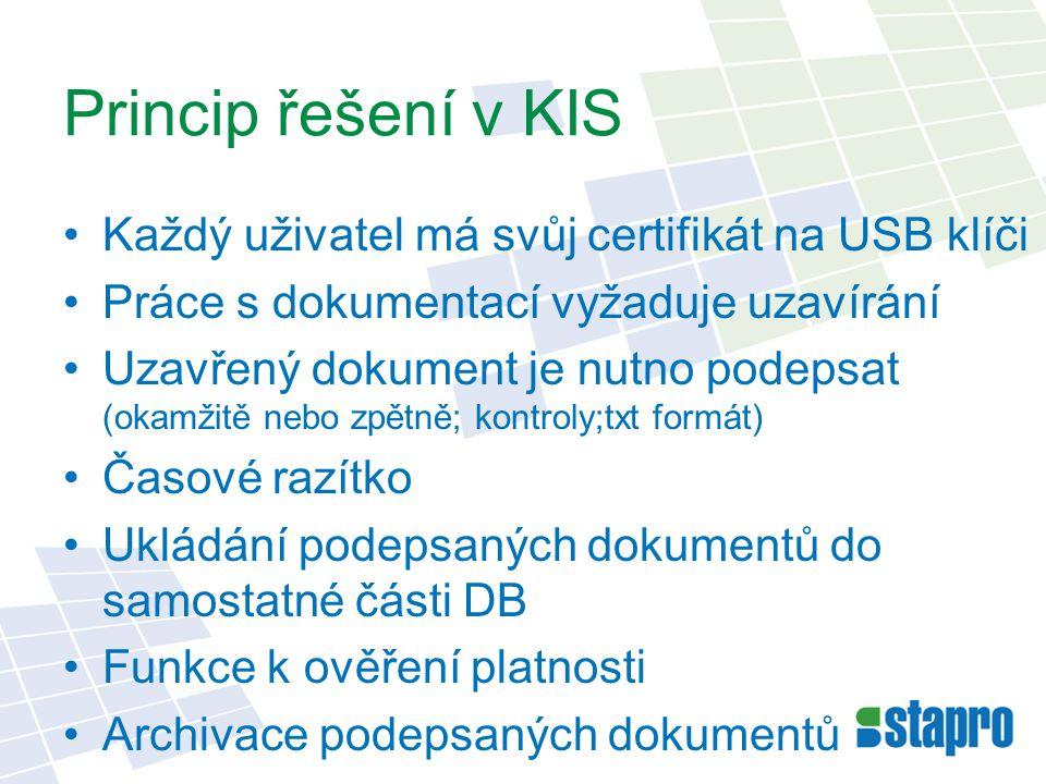 Princip řešení v KIS Každý uživatel má svůj certifikát na USB klíči Práce s dokumentací vyžaduje uzavírání Uzavřený dokument je nutno podepsat (okamžitě nebo zpětně; kontroly;txt formát) Časové razítko Ukládání podepsaných dokumentů do samostatné části DB Funkce k ověření platnosti Archivace podepsaných dokumentů