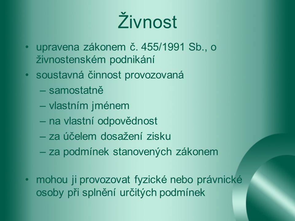 Živnost upravena zákonem č.