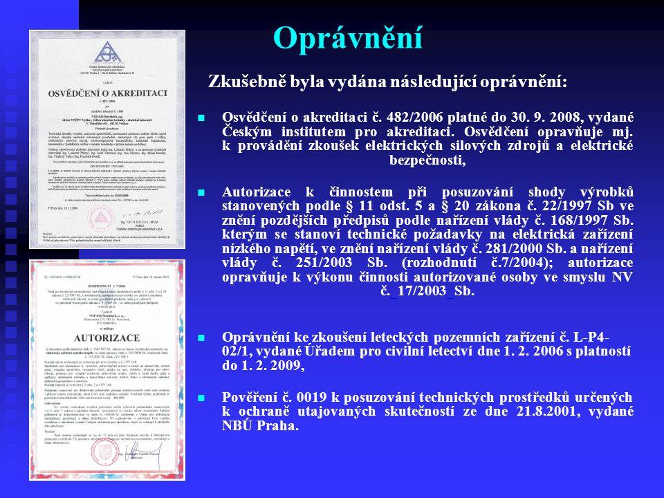 Oprávnění Osvědčení o akreditaci č. 482/2006 platné do 30. 9. 2008, vydané Českým institutem pro akreditaci. Osvědčení opravňuje mj. k_provádění zkouš