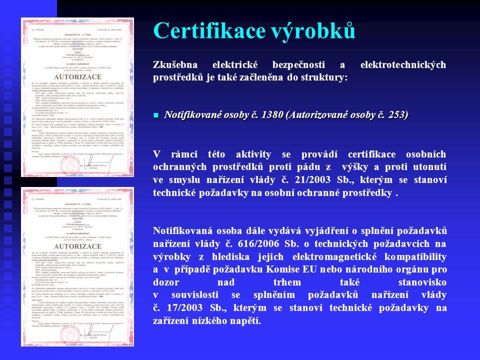 Certifikace výrobků Zkušebna elektrické bezpečnosti a elektrotechnických prostředků je také začleněna do struktury: Notifikované osoby č. 1380 (Autori