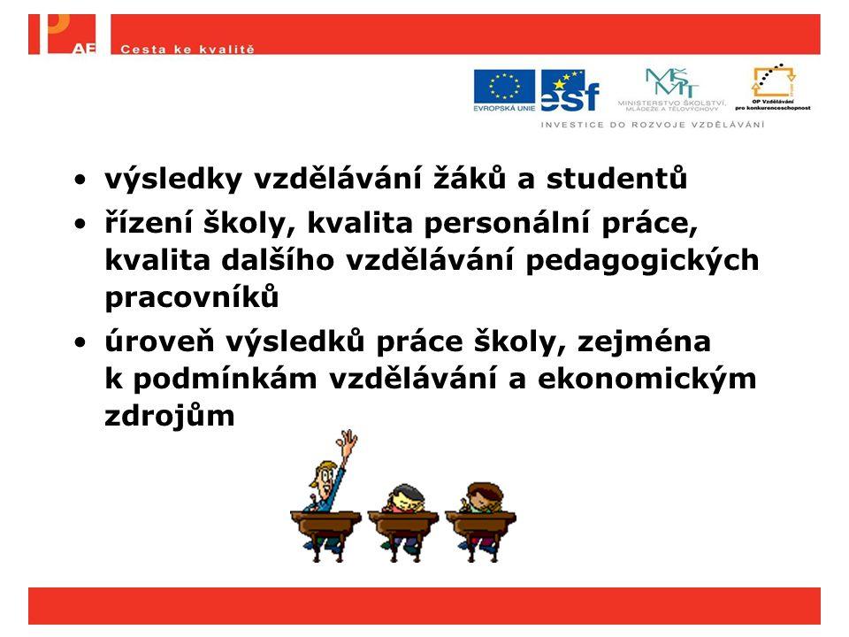 výsledky vzdělávání žáků a studentů řízení školy, kvalita personální práce, kvalita dalšího vzdělávání pedagogických pracovníků úroveň výsledků práce