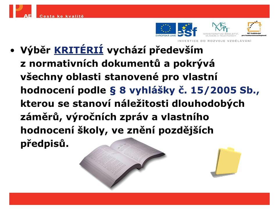 Výběr KRITÉRIÍ vychází především z normativních dokumentů a pokrývá všechny oblasti stanovené pro vlastní hodnocení podle § 8 vyhlášky č. 15/2005 Sb.,