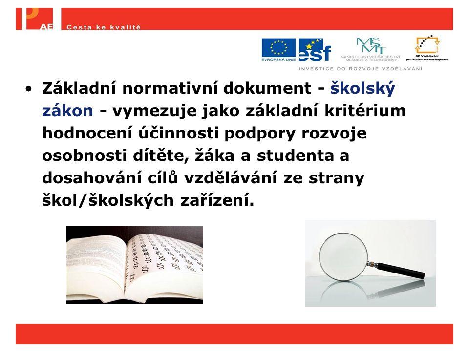 Základní normativní dokument - školský zákon - vymezuje jako základní kritérium hodnocení účinnosti podpory rozvoje osobnosti dítěte, žáka a studenta