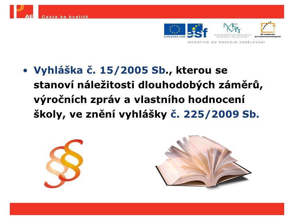 Vyhláška č. 15/2005 Sb., kterou se stanoví náležitosti dlouhodobých záměrů, výročních zpráv a vlastního hodnocení školy, ve znění vyhlášky č. 225/2009