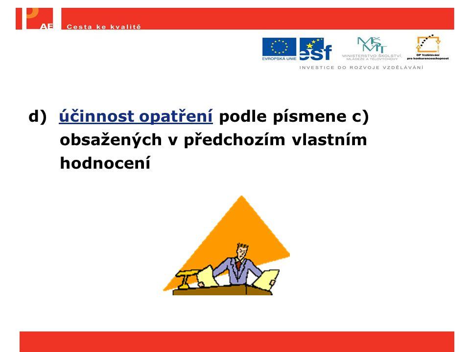 d) účinnost opatření podle písmene c) obsažených v předchozím vlastním hodnocení
