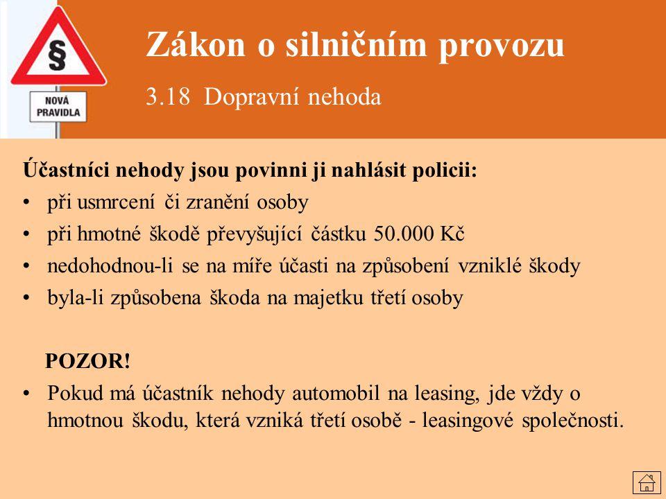 Zákon o silničním provozu 3.18 Dopravní nehoda Účastníci nehody jsou povinni ji nahlásit policii: při usmrcení či zranění osoby při hmotné škodě převy