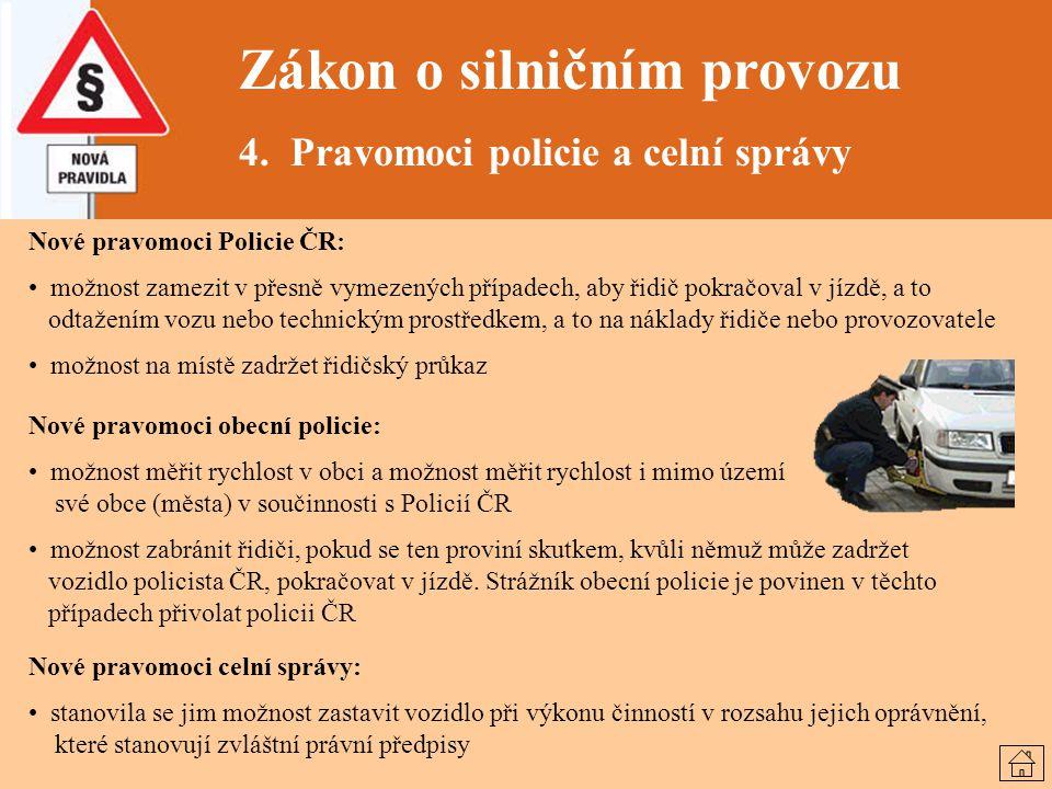 Zákon o silničním provozu 4. Pravomoci policie a celní správy Nové pravomoci Policie ČR: možnost zamezit v přesně vymezených případech, aby řidič pokr