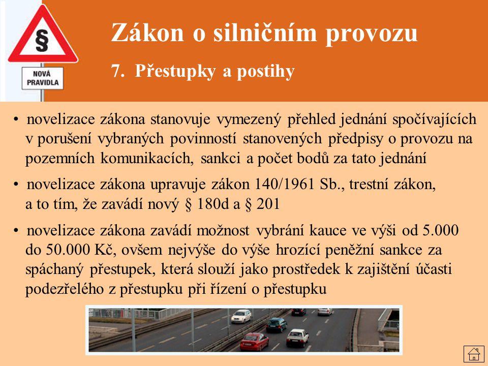Zákon o silničním provozu 7. Přestupky a postihy novelizace zákona stanovuje vymezený přehled jednání spočívajících v porušení vybraných povinností st