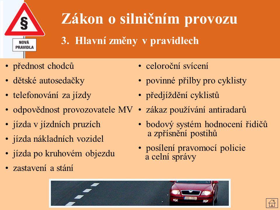 Zákon o silničním provozu 3. Hlavní změny v pravidlech přednost chodců dětské autosedačky telefonování za jízdy odpovědnost provozovatele MV jízda v j