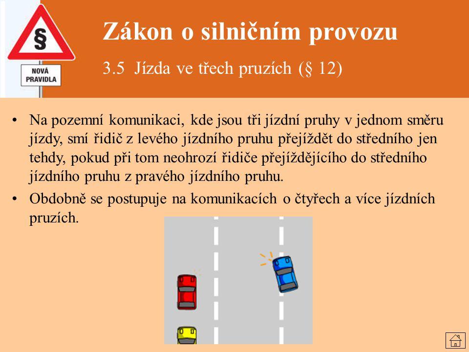 Zákon o silničním provozu 3.5 Jízda ve třech pruzích (§ 12) Na pozemní komunikaci, kde jsou tři jízdní pruhy v jednom směru jízdy, smí řidič z levého