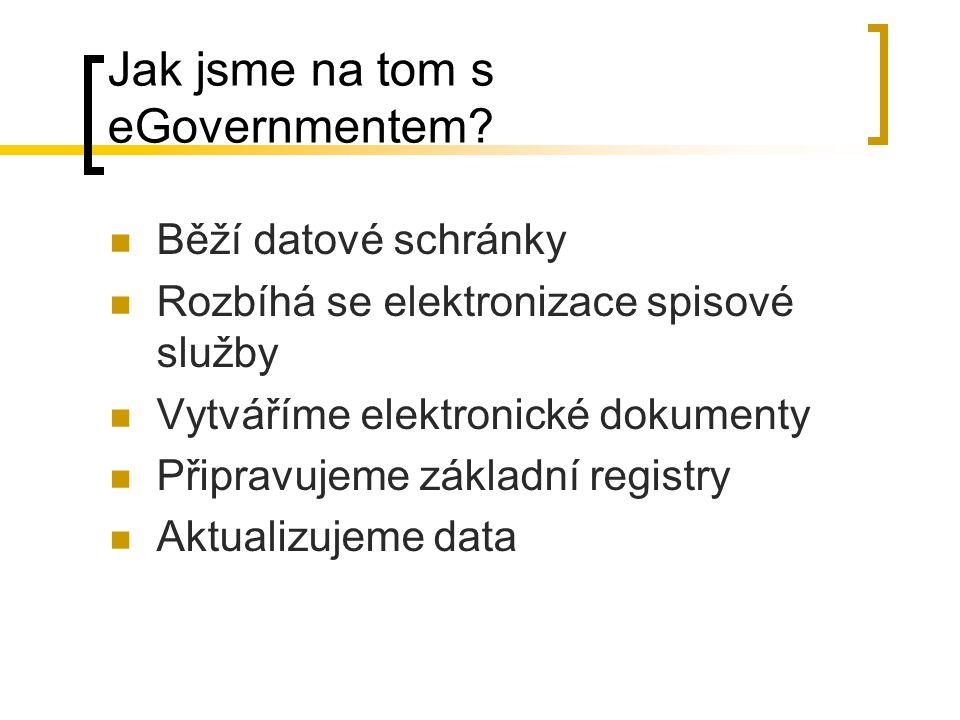 Jak jsme na tom s eGovernmentem? Běží datové schránky Rozbíhá se elektronizace spisové služby Vytváříme elektronické dokumenty Připravujeme základní r
