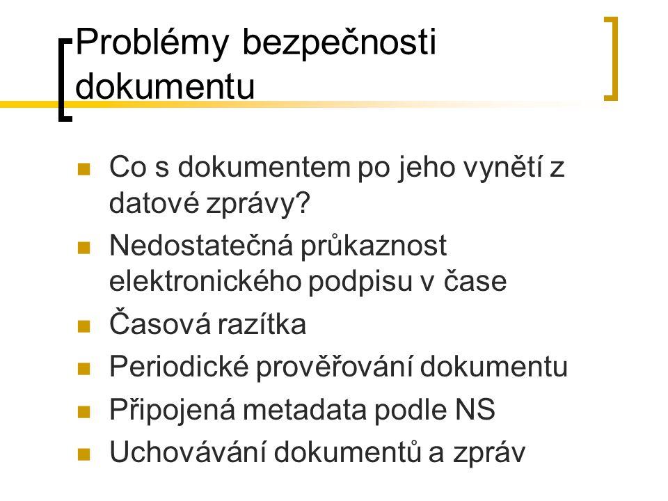 Problémy bezpečnosti dokumentu Co s dokumentem po jeho vynětí z datové zprávy? Nedostatečná průkaznost elektronického podpisu v čase Časová razítka Pe