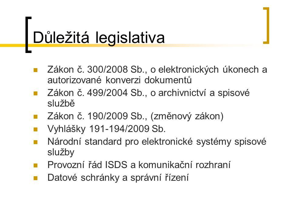 Důležitá legislativa Zákon č. 300/2008 Sb., o elektronických úkonech a autorizované konverzi dokumentů Zákon č. 499/2004 Sb., o archivnictví a spisové