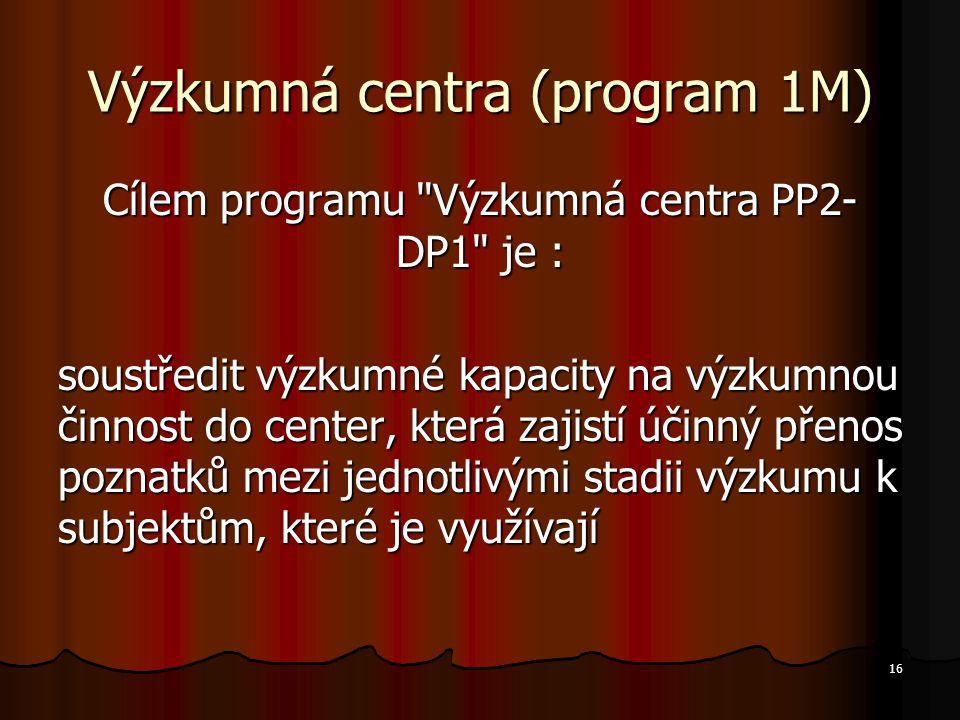 16 Výzkumná centra (program 1M) Cílem programu