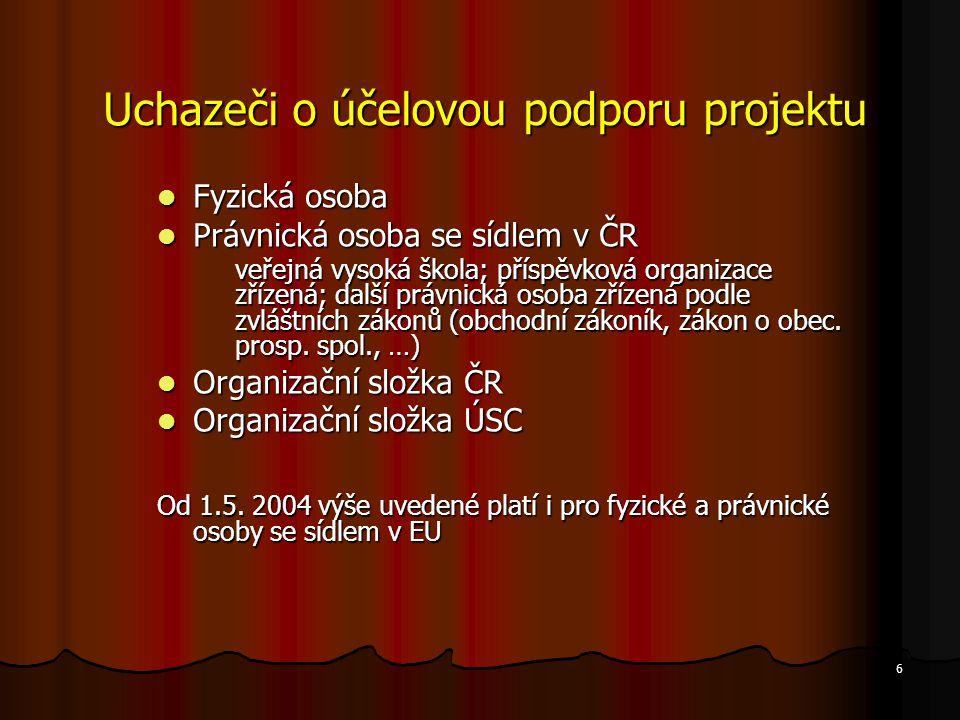 6 Uchazeči o účelovou podporu projektu Fyzická osoba Fyzická osoba Právnická osoba se sídlem v ČR Právnická osoba se sídlem v ČR veřejná vysoká škola;