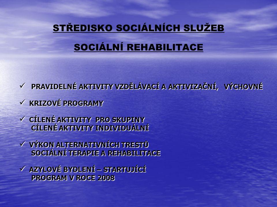 STŘEDISKO SOCIÁLNÍCH SLUŽEB SOCIÁLNÍ REHABILITACE PRAVIDELNÉ AKTIVITY VZDĚLÁVACÍ A AKTIVIZAČNÍ, VÝCHOVNÉ PRAVIDELNÉ AKTIVITY VZDĚLÁVACÍ A AKTIVIZAČNÍ,