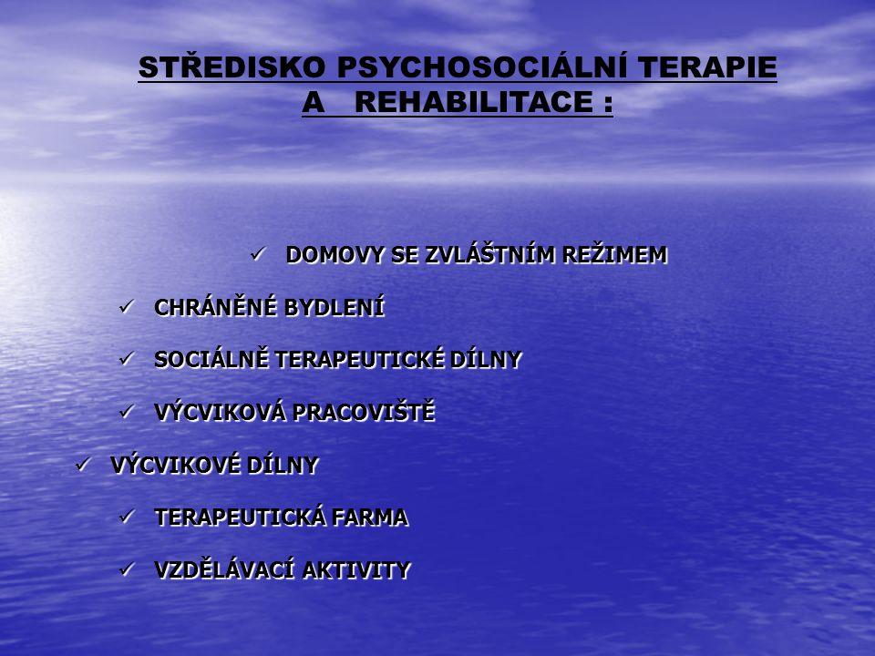 STŘEDISKO PSYCHOSOCIÁLNÍ TERAPIE A REHABILITACE : DOMOVY SE ZVLÁŠTNÍM REŽIMEM DOMOVY SE ZVLÁŠTNÍM REŽIMEM CHRÁNĚNÉ BYDLENÍ CHRÁNĚNÉ BYDLENÍ SOCIÁLNĚ T