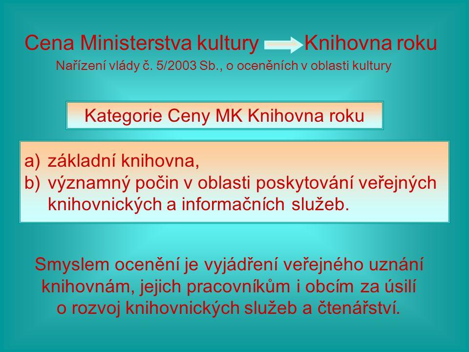 Cena Ministerstva kultury Knihovna roku Nařízení vlády č. 5/2003 Sb., o oceněních v oblasti kultury Kategorie Ceny MK Knihovna roku a)základní knihovn